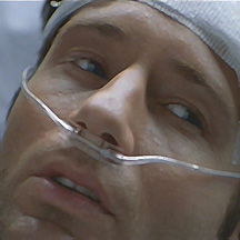 Mulder in his hospital bed