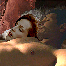 Later that night, after Scully had fallen asleep, Mulder lay beside her, staring up at the cave roof, writing another entry in his imaginary diary.